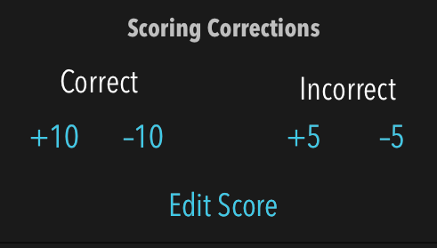 scoring correction screen